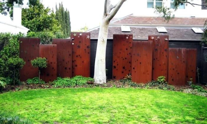 brise-vue jardin clôture en acier corten
