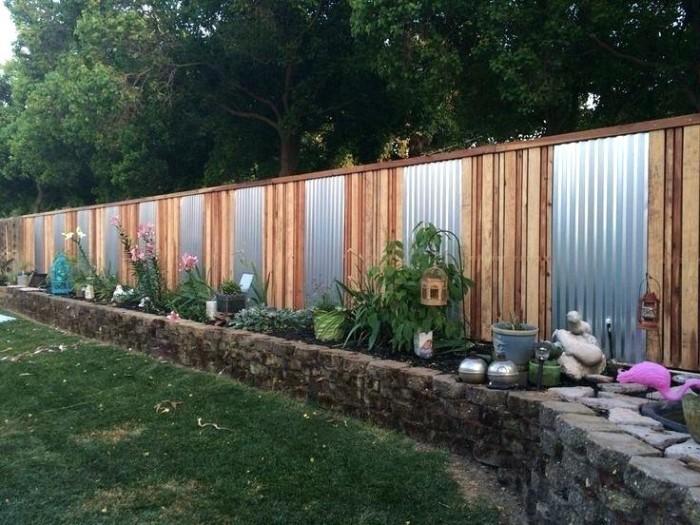 brise-vue jardin en métal et bois
