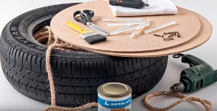 comment fabriquer un pouf design avec pneu recyclé