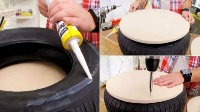 affordable crer un pouf avec pneu recycl with pouf avec pneu et corde. Black Bedroom Furniture Sets. Home Design Ideas