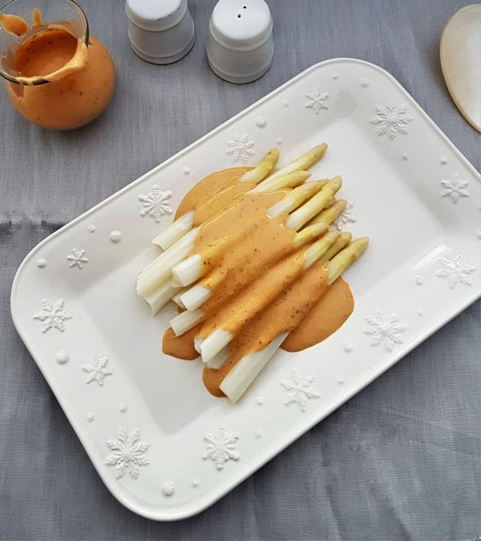cuisson asperges blanches et sauce avec moutarde