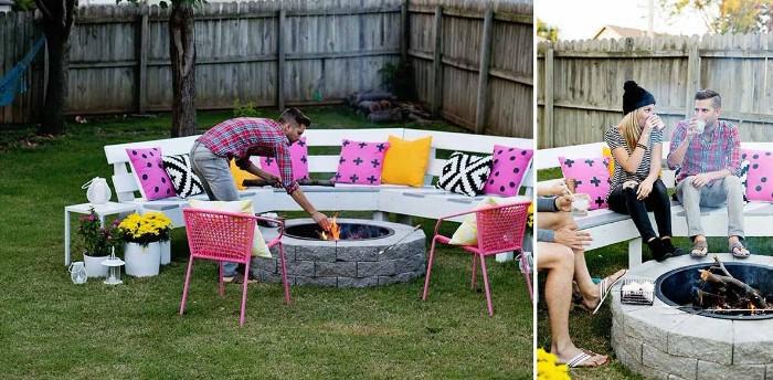 diy meubles extérieurs et brasero barbecue