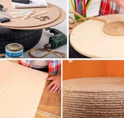 pneu recyclé transformé en pouf design
