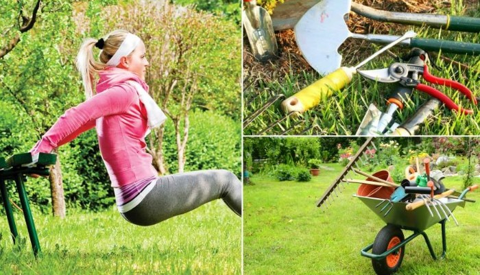 entraîner vos bras avec des outils jardinage