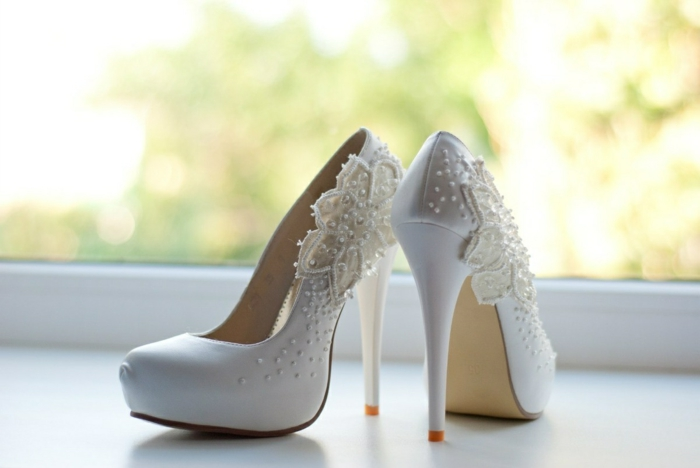 idée chaussures mariage femme dentelle blanche