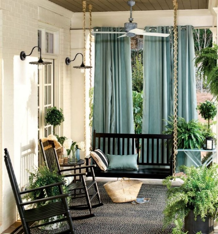 idée de brise-vue terrasse rideaux