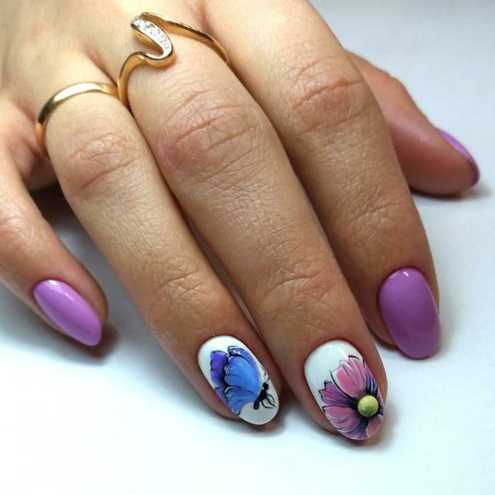 idée originale nail art facile violet