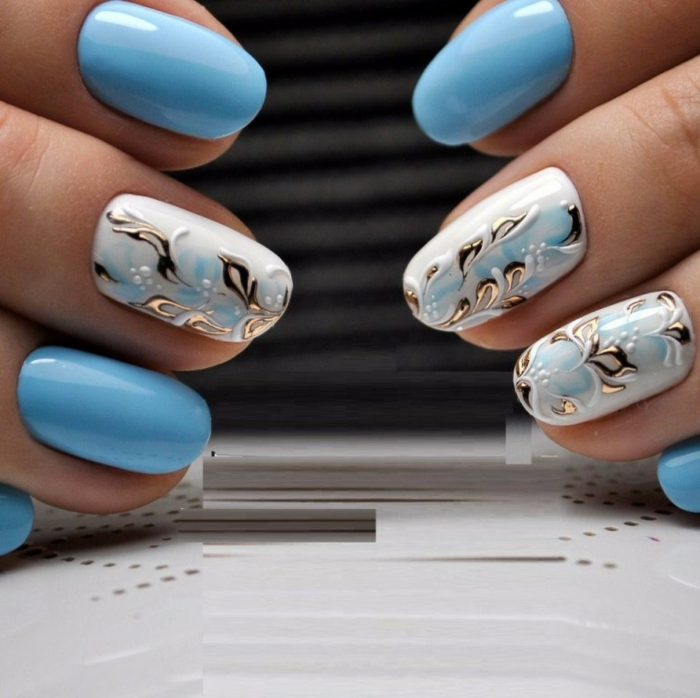 inspiration en bleu nail art facile