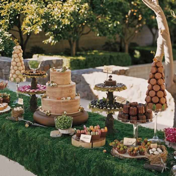 mariage champêtre table festive gâteau