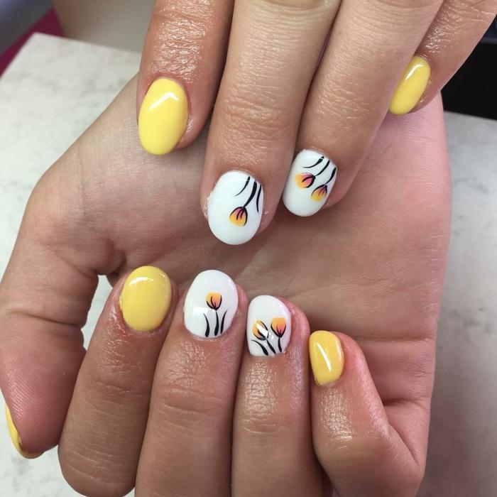 nail art facile couleur jaune avec des fleurs