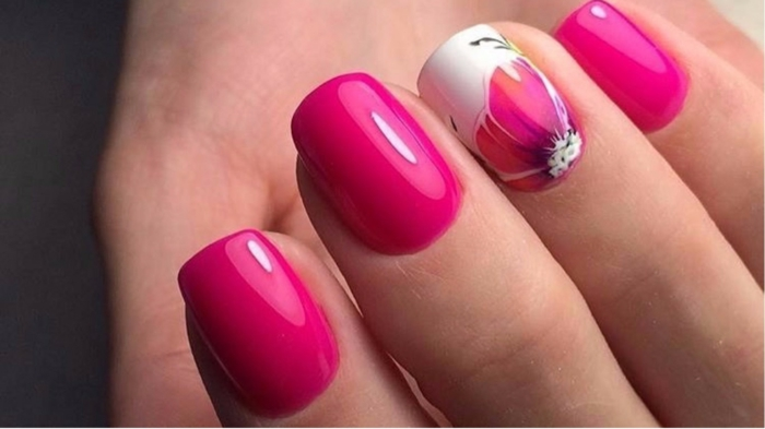 nail art facile en rose