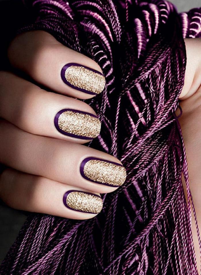 nail art facile idée en violet