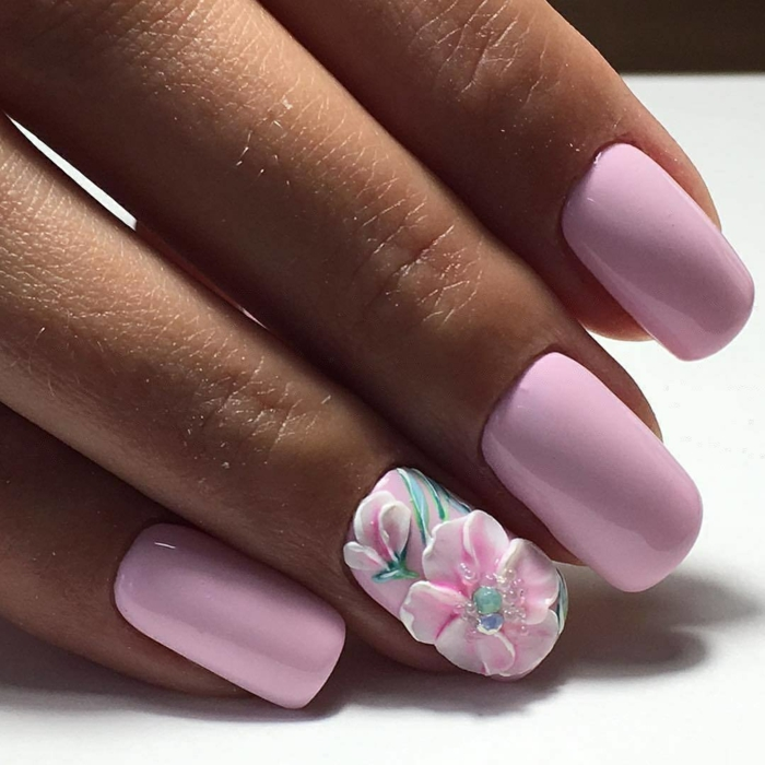 nail art facile inspiration florale printemps