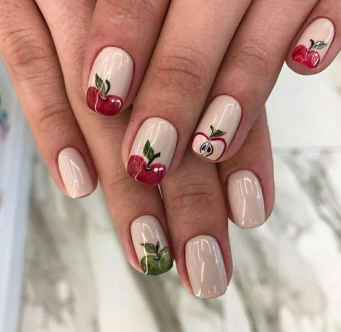 nail art facile pour le printemps avec pommes