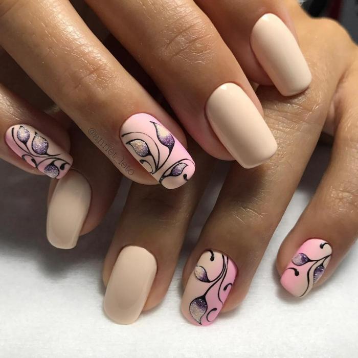 nail art facile touche de violet