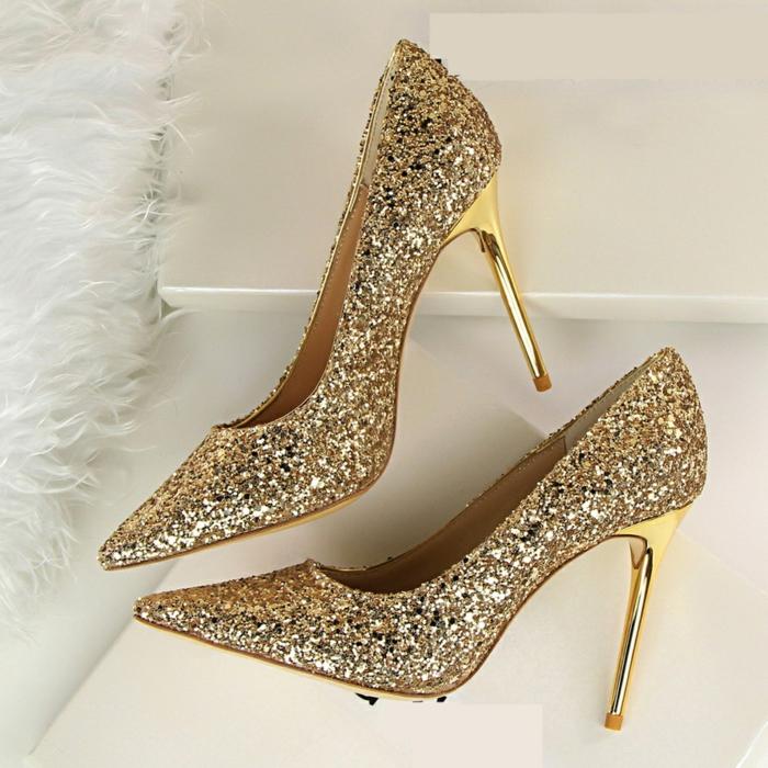 peillettes dorées chaussures mariage femme