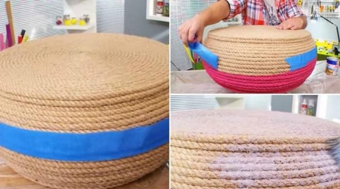 pneu recyclé tapissé de corde