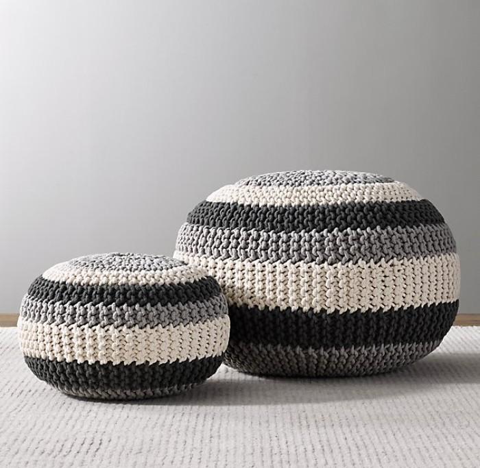 pouf tapissé fait de pneu recyclé