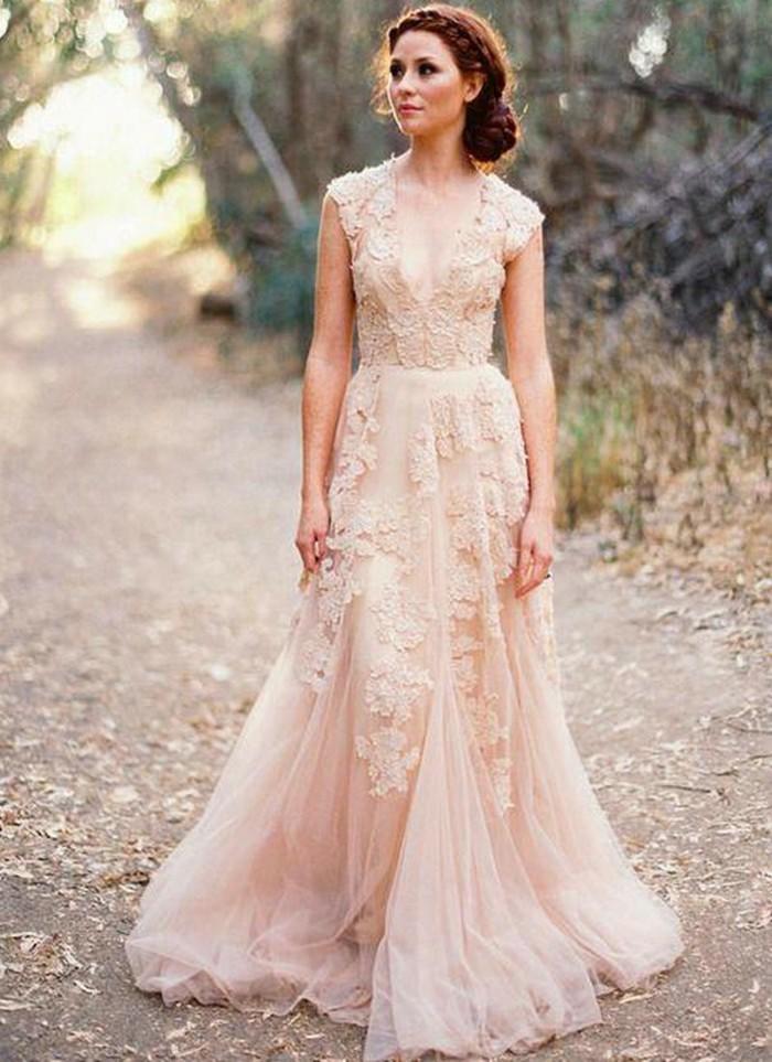 robe mariée rose mariage champêtre