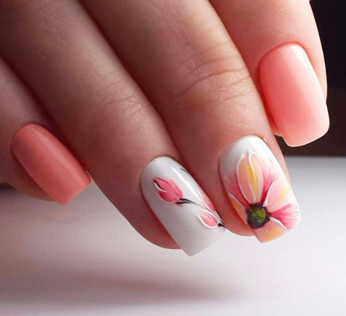 rose corail nail art facile printemps