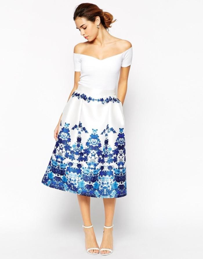 tenue invitée mariage robe blanche motifs florals