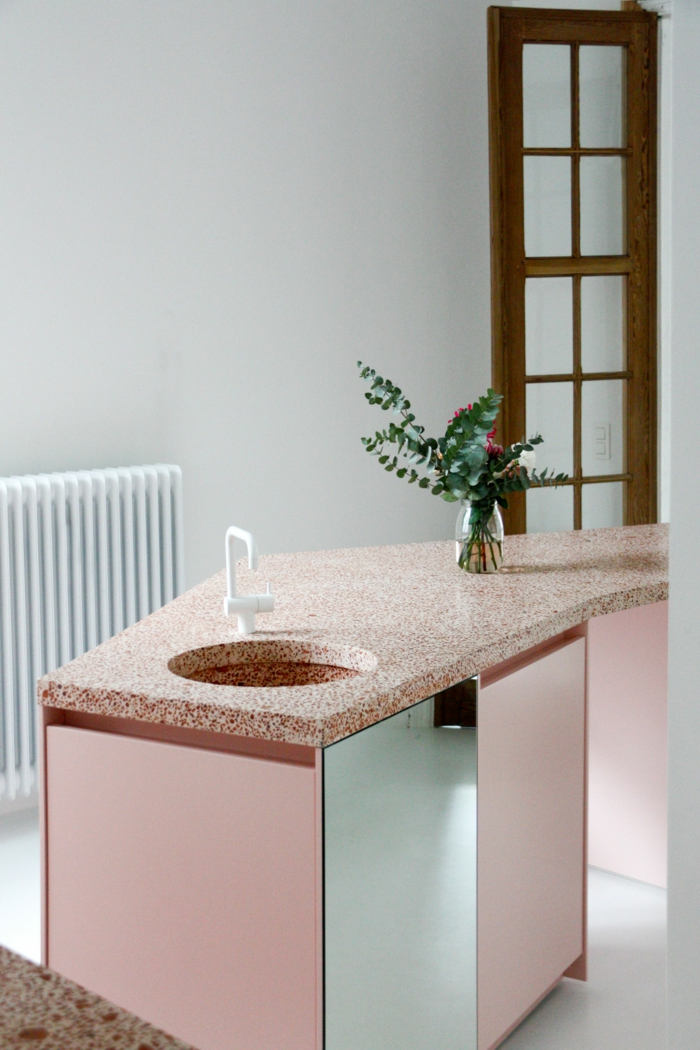 terrazzo en rose décoration intérieur cuisine