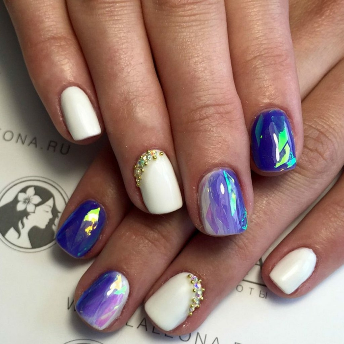 vernis violet nail art facile