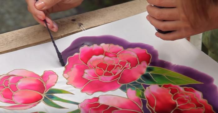 écharpe femme diy peinture sur soie