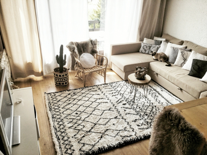 accessoire design tapis graphique salon