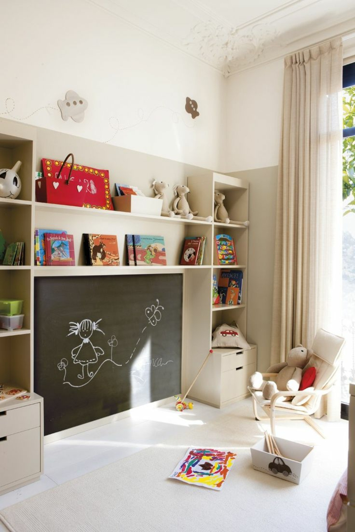 aménagement chambre enfant avec tableau ardoise