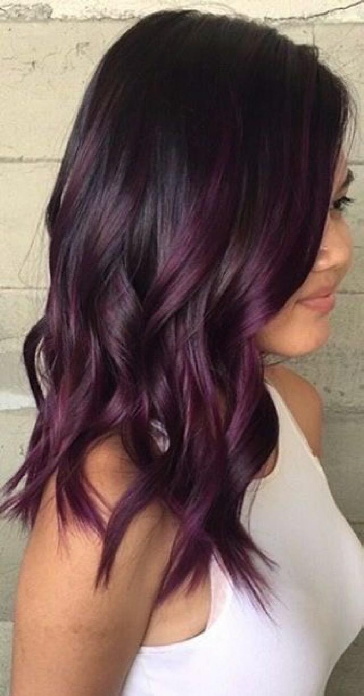 balayage cheveux prune foncé