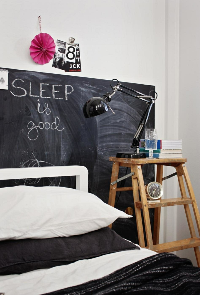 chambre à coucher déco tableau ardoise
