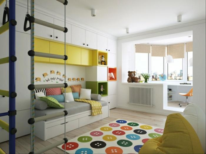 chambre d'enfant blanche tapis graphique
