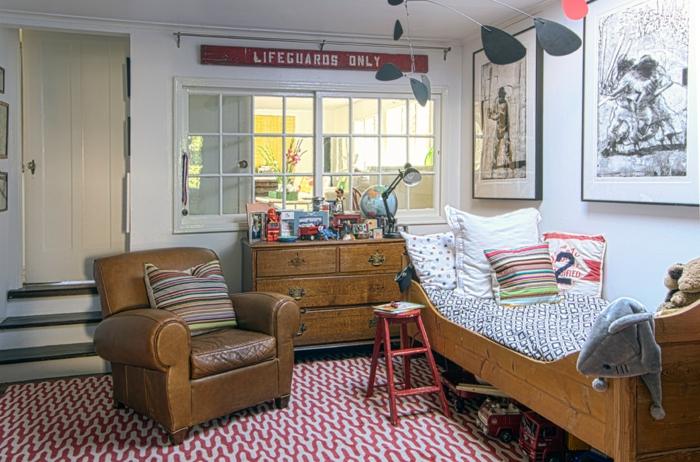 chambre d'enfant shabby chic tapis graphique
