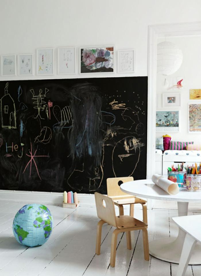 chambre enfant idée déco avec tableau ardoise