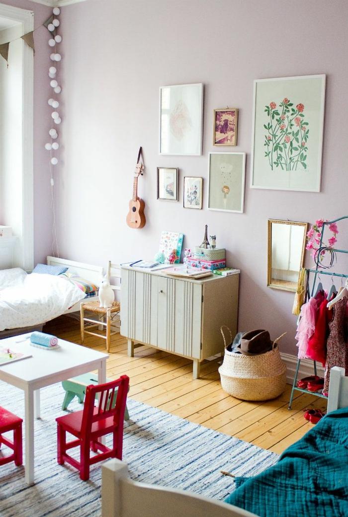 chambre enfant panier tressé ranger jouets