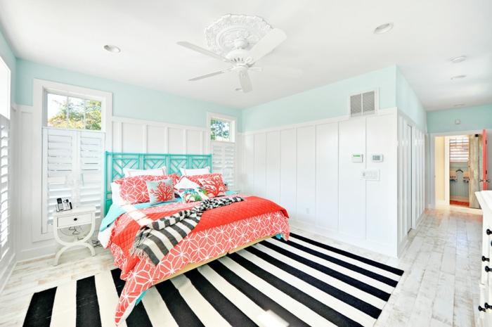 chambre style plage tapis graphique