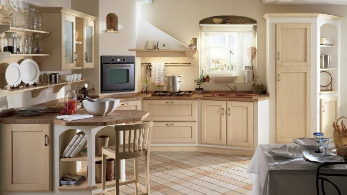 cuisine campagne chic avec armoires en bois clair