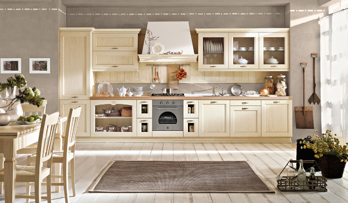 cuisine campagne chic en beige avec sol en bois