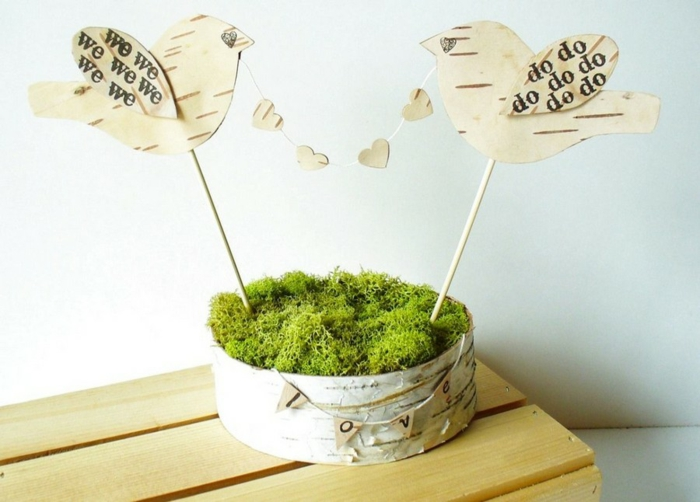 déco de table boîte de mousse végétale