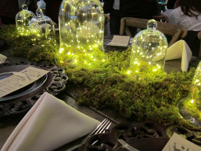 déco de table cloches en verre mousse végétale