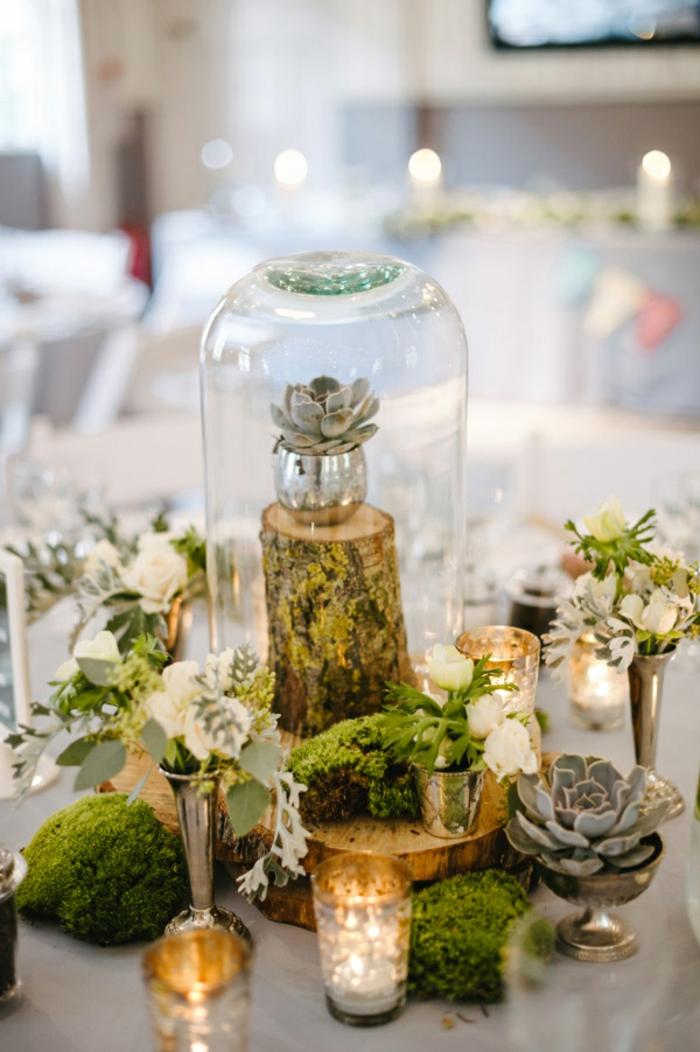 déco de table mariage champêtre mousse végétale