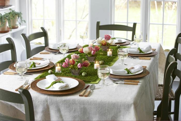 déco de table pâques mousse végétale