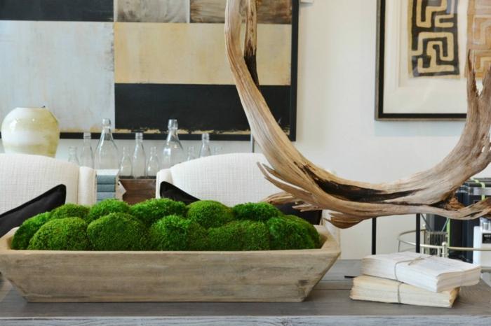 déco de table salon récipient en bois mousse végétale