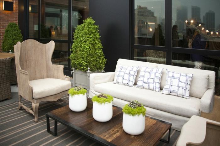 déco de table terrasse mousse végétale