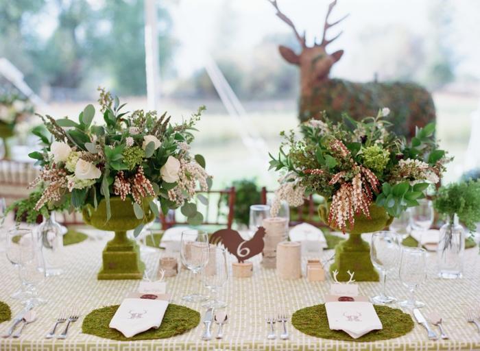 déco mariage déco de table style rustique mousse végétale