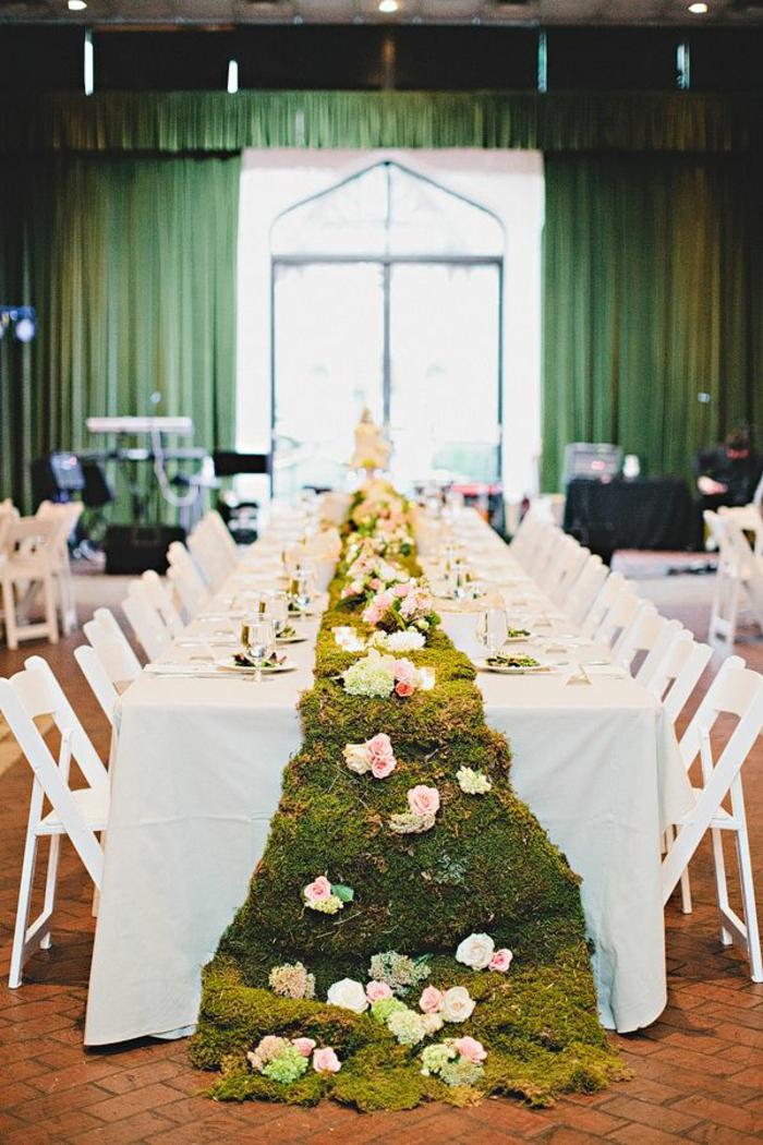 décoration de mariage mousse végétale
