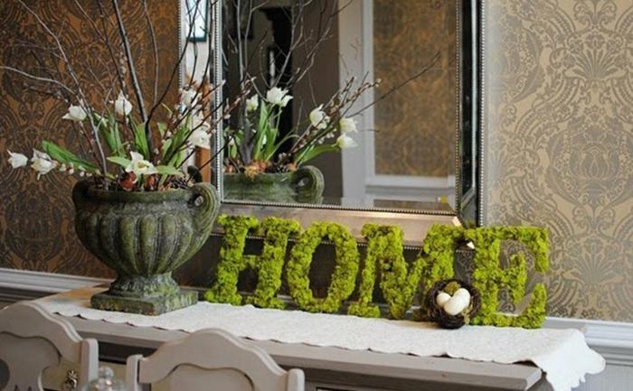 décorer le salon idée avec de la mousse végétale