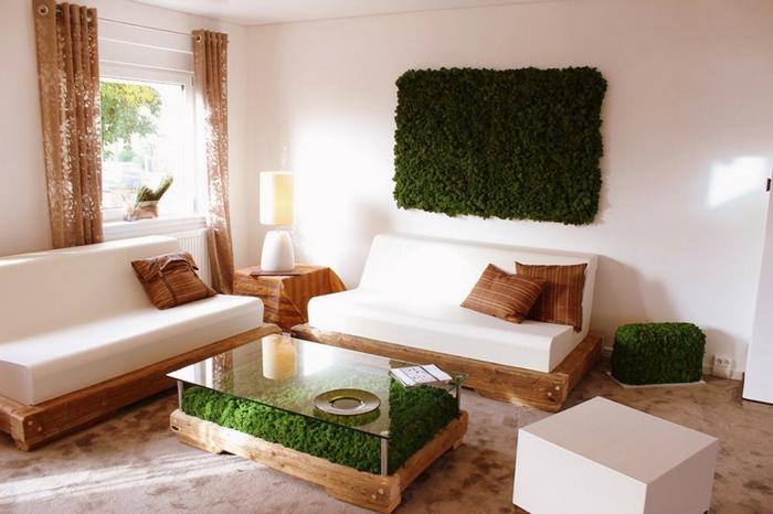 design intérieur objets déco de mousse végétale