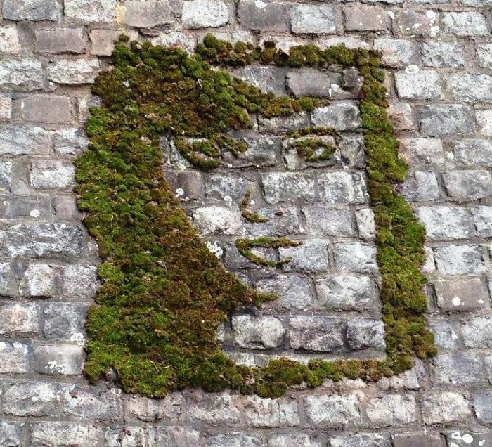 dessin mural mousse végétale